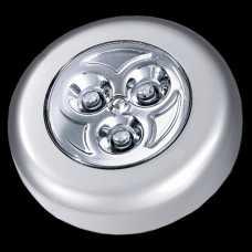 luminária 3 leds push button cor prata incluso 03 pilhas modelo AAA - Cód: 5199 - Marca: Bronzearte