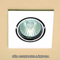 Spot dicróica quadrado móvel (basculante) branco sem lâmpada ref: HD0383BC - Cód: 3356 - Marca: Bronzearte