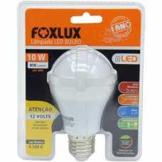 lâmpada led 10w 12V E27 branca 6500k A60 p/ painel solar e emergência R-LED10.12 - Cód: 6914 - Marca: foxlux