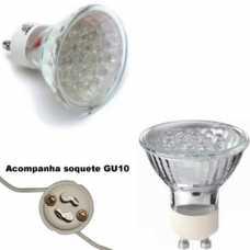Lâmpada dicróica base GU10 20 leds branca fria 6400k 1,5w/220volts acompanha soquete GU10 - Cód: 6404 - Marca: Ecrom
