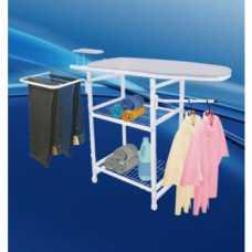 mesa de passar roupa modelo multiuso em aço e madeira - Cód: 4649 - Marca: Nacional