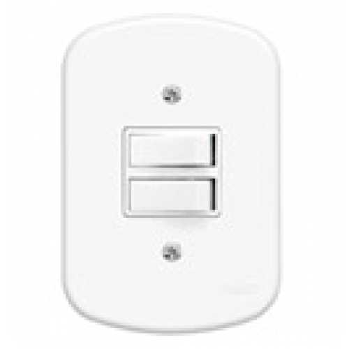Interruptor 2 teclas simples c/ placa 4x2 - Cód: 717 - Marca: Fame