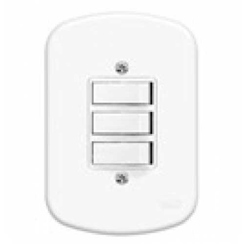 Interruptor 3 teclas simples c/ placa 4x2  - Cód: 721 - Marca: Fame