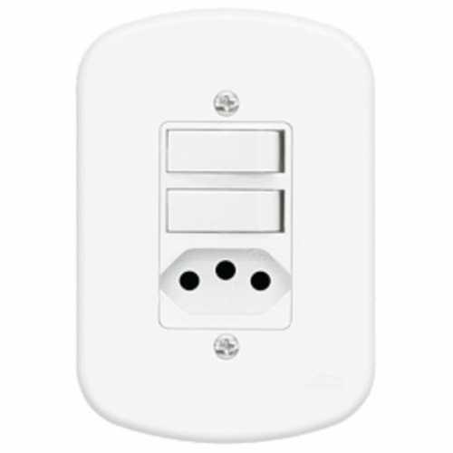 Interruptor 2 teclas simples + tomada 2P+T 10A com placa 4x2 padrão Brasileiro - Cód: 3915 - Marca: Fame