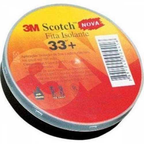 fita isolante 19 mm x 20 metros cor preta schotch 33+ 3m - Cód: 1078 - Marca: 3M