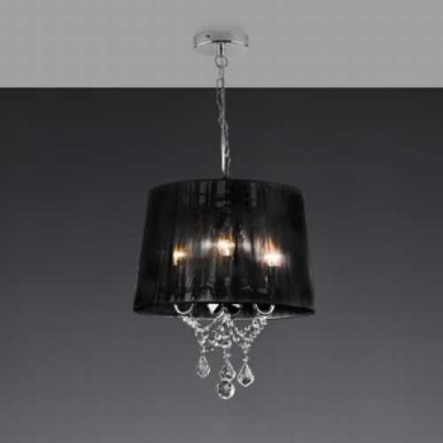 Lustre Reflexo com cristal para 3 lâmpadas com cúpula preta DL323303PD - Cód: 5531 - Marca: Bronzearte