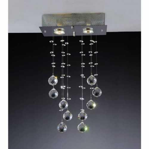 plafon brilhante 2 lâmpadas com bolas em cristal nobre ref. GP0802APF1 - Cód: 6161 - Marca: Bronzearte