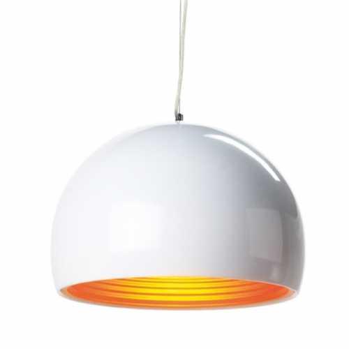 pendente meia esfera branco com dourado em alumínio 1xE27 ref. TD-801 - Cód: 6518 - Marca: Taschibra