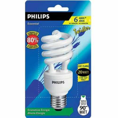 Lâmpada eletrônica espiral twister 20w/220v luz branca 6.500k - Cód: 3235 - Marca: Philips