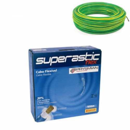 cabo flexível 6,0 MM x 100 metros amarelo com verde  - Cód: 4662 - Marca: Prysmian