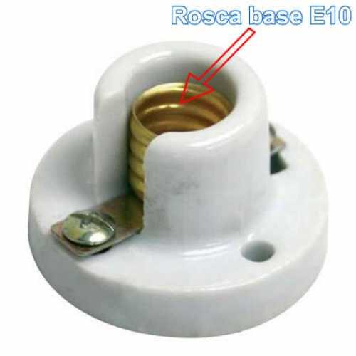 Bocal soquete E10 branco em porcelana com base para lâmpada E10 - Cód: 5182