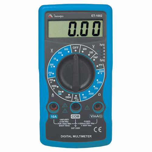 Multímetro digital tensão AC/DC 600V ET-1002 - Cód: 5131 - Marca: Minipa