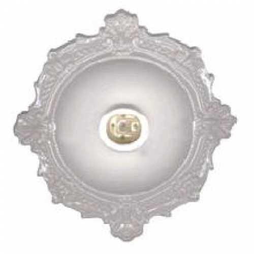 Plafonier BVC PVC branco com soquete E27 em porcelana - Cód: 1804 - Marca: Pavilonis