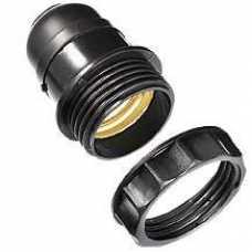 Soquete E27 preto para abajur com arruela ref: BTE27026 - Cód: 7088 - Marca: G20