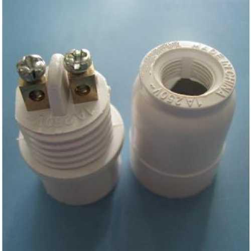 Bocal soquete E14 tubinho pendente branco para lâmpada E-14 - Cód: 2996 - Marca: Decorlux