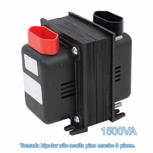 Transformador De Voltagem 1500va Bivolt Tomada Bipolar - Entrada 110v P/ 220v Ou 220v P/ 110v - Cód: 3789 - Marca: Fiolux
