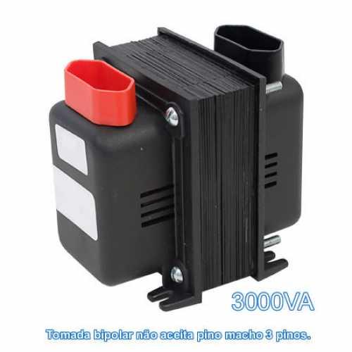 Transformador De Voltagem 3000va Bivolt Tomada Bipolar - Entrada 110v P/ 220v Ou 220v P/ 110v - Cód: 3227 - Marca: Fiolux
